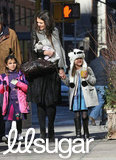 Katie Holmes and her daughter, Suri Cruise, braced themselves for the chilly NYC weather Sunday.