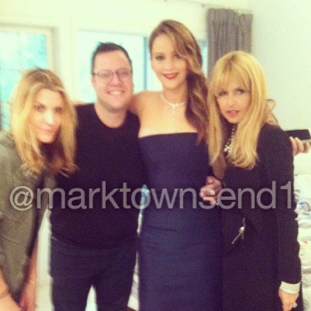 Jennifer Lawrence got ready with makeup artist Jillian Dempsey, hair stylist Mark Townsend and stylist Rachel Zoe. Source: Instagram user marktownsend1
