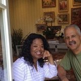 """Oprah gave fans a peek at how she spent her birthday —lunch with boyfriend Stedman Graham and """"no plans to leave PJs all day."""" Source: Instagram user oprah"""
