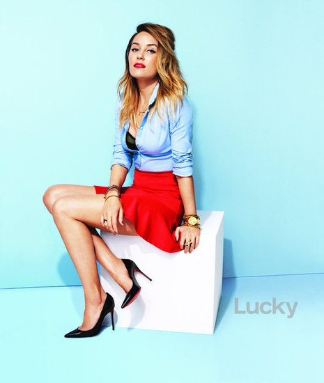Lauren Conrad wears red and blue in Lucky's March 2013 issue.