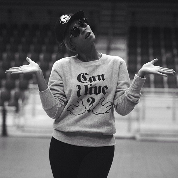 "Beyoncé Knowles wore a ""Can I Live?"" shirt while rehearsing for the Super Bowl halftime show in New Orleans. Source: Instagram user baddiebey"
