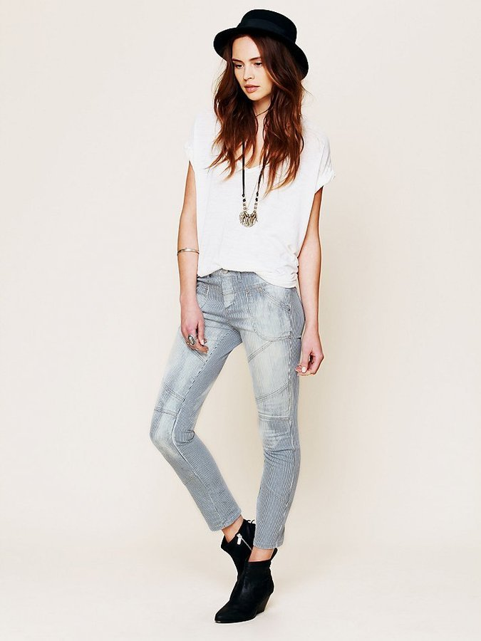 Pair Free People's Railroad Seamed Skinny Jeans ($78) with a slouchy white tee and cool-girl accessories.