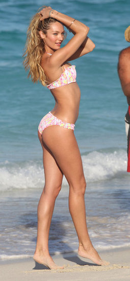 Candice Swanepoel struck a sexy pose on the beach in St. Barts.