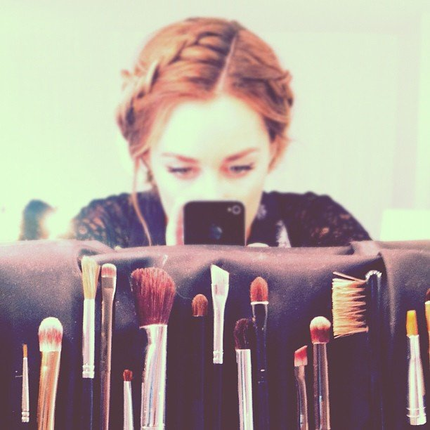 Lauren Conrad played with makeup brushes.  Source: Instagram user laurenconrad