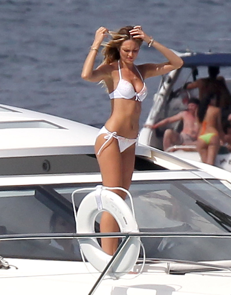 Candice Swanepoel posed on a yacht for a Victoria's Secret shoot in St. Barts.
