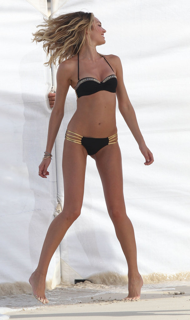 Candice Swanepoel donned a bikini for a Victoria's Secret shoot in St. Barts.