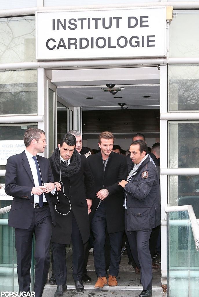 David Beckham left the hospital in Paris after his exam.