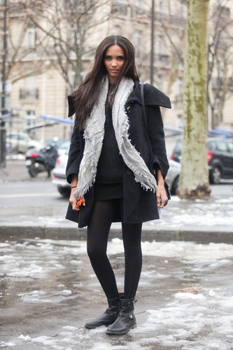 Biker boots made this miniskirt ensemble a little edgier than your average skirt and sweater pairings.  Source: Adam Katz Sinding