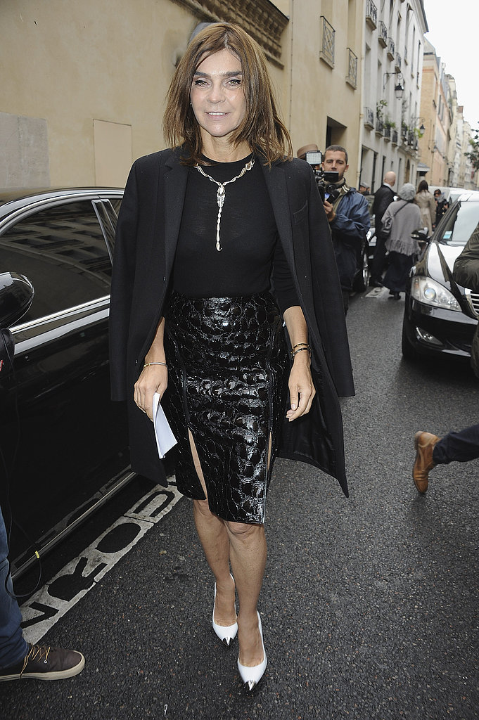 At Balmain in Paris, Carine Roitfeld did the jacket-on-the-shoulders thing so well, but this time around, we only had eyes for that ultra-sexy croc-print skirt.