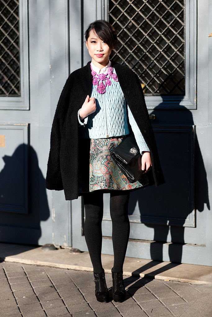 There's no reason why you can't wear your prettiest skirts right now — this styler worked a skilled mix of Winter essentials, like black tights against girlier statement pieces, for an eclectic-glam effect. Source: Adam Katz Sinding