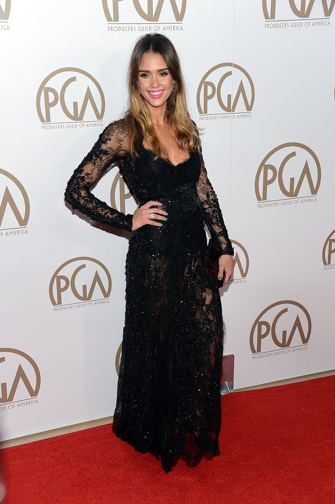 Jessica Alba rocked a lacy dress on the red carpet at the 24th Annual Producers Guild Awards on January 26.