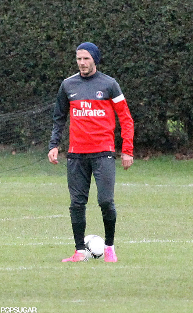 David Beckham practiced with his new team, Paris Saint-Germain, in London.