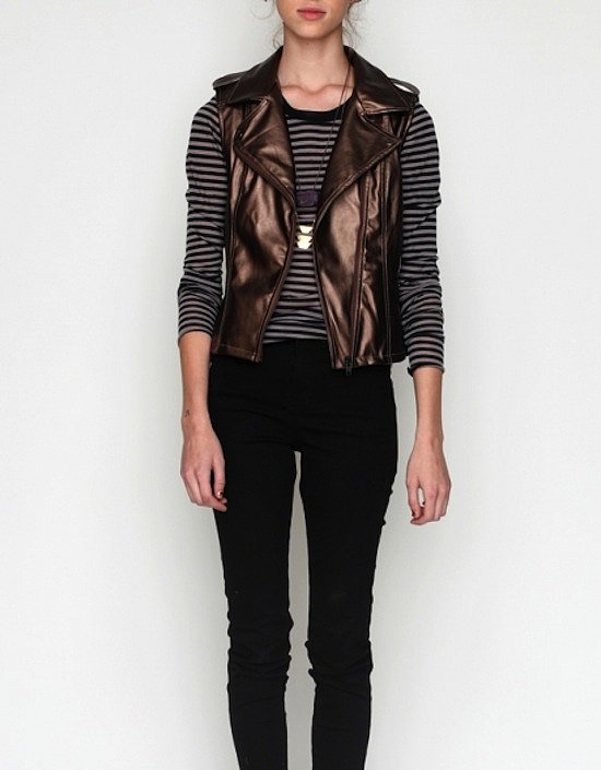 This metallic moto vest ($65, originally $88) will instantly take you from day to night.