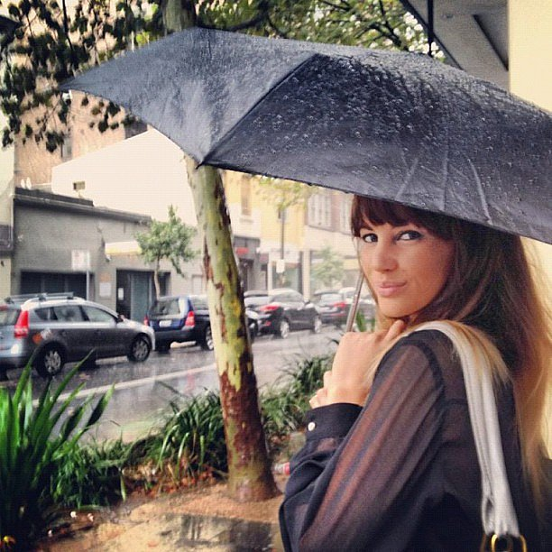 Samantha Jade put her umbrella to good use in midst of some crazy summer weather. Source: Instagram user samantha_jade_music