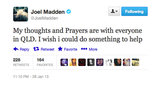 Australia's adopted son, Joel Madden, sent his best wishes to all Queenslanders during last week's floods.