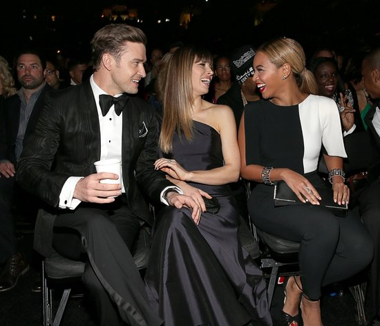 Justin Timberlake and Jessica Biel laughed in their seats with Beyonce at the Grammys Sunday night in LA.