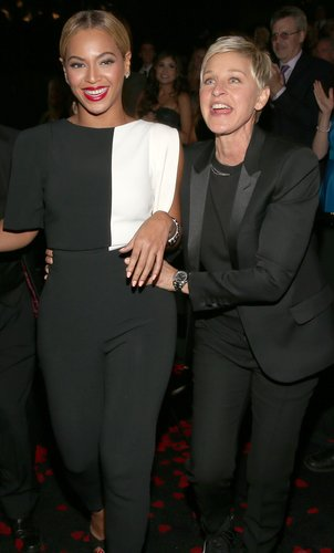 Ellen DeGeneres held onto Beyoncé's hips after the two presented together at the 2013 Grammys.