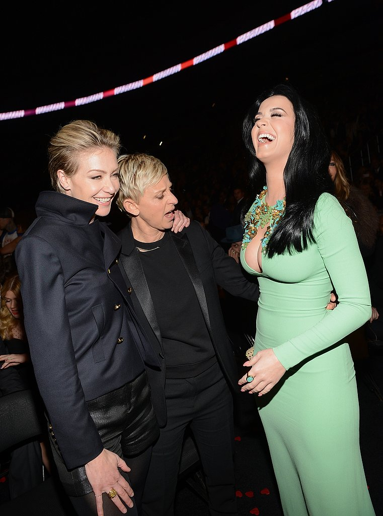 Ellen DeGeneres and Portia de Rossi got a good look at Katy Perry's dress.