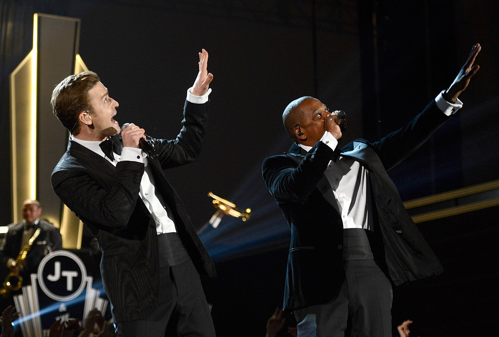 "Justin Timberlake and Jay-Z performed their new song, ""Suit and Tie,"" together."