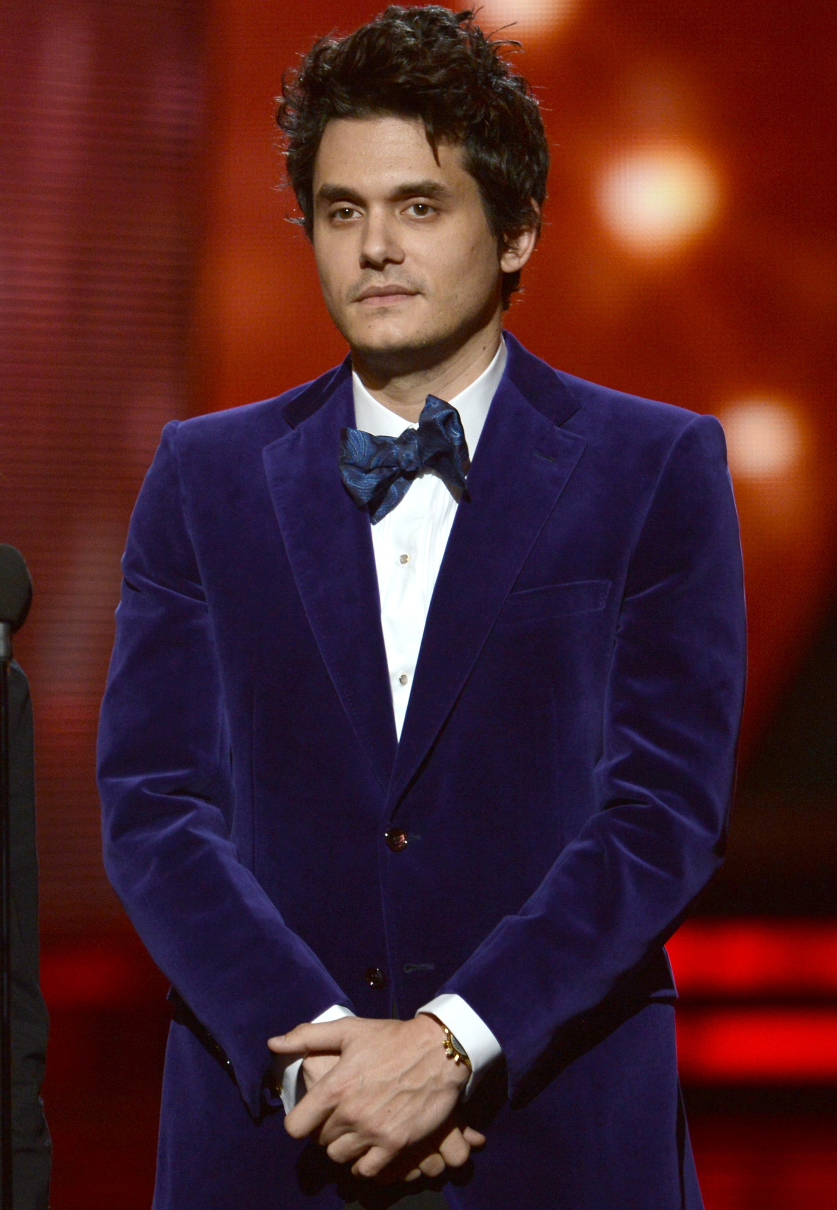 John Mayer wore a blue blazer at the Grammys.