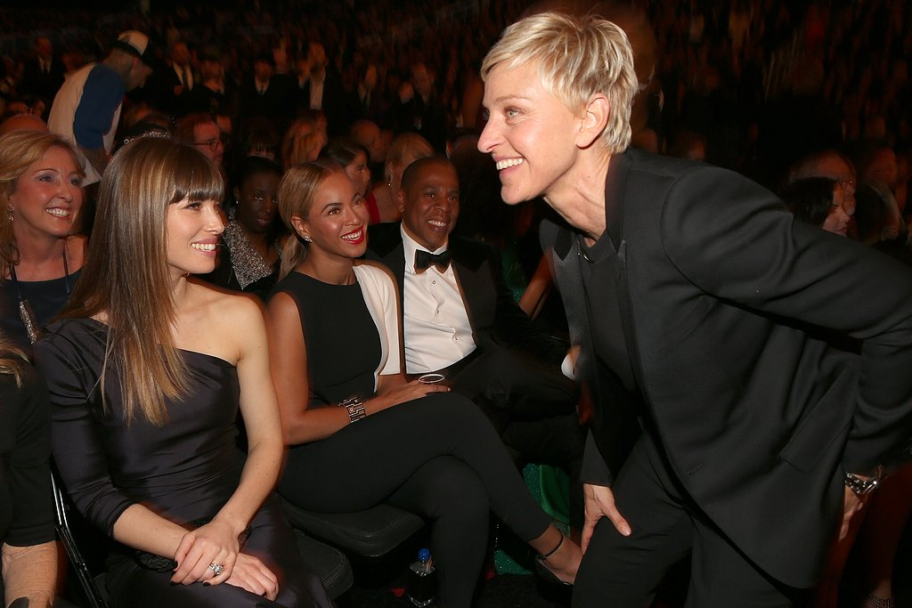 Ellen DeGeneres worked the crowd, which included Jessica Biel, Beyoncé, and Jay-Z, during the 2013 Grammy Awards.