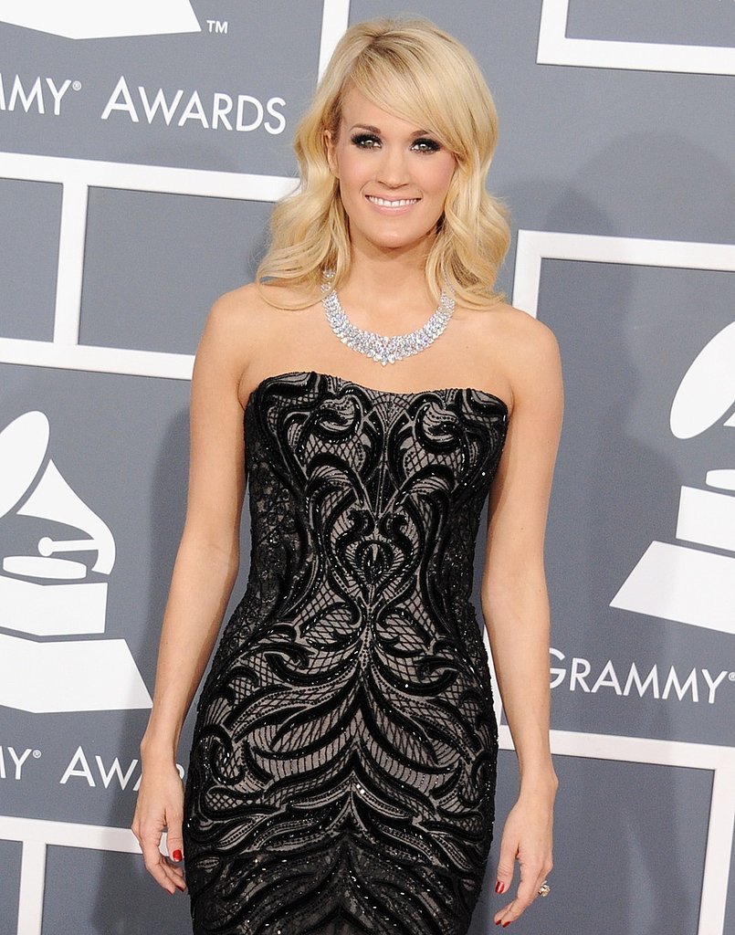 Carrie Underwood accessorized her Roberto Cavalli gown with a megawatt diamond necklace that sparkled from every angle.
