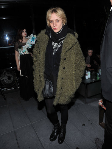 Chloë Sevigny's green shearling coat kept her cozy at the Imitation of Christ show. An animal-print top was a welcomed pop of print.