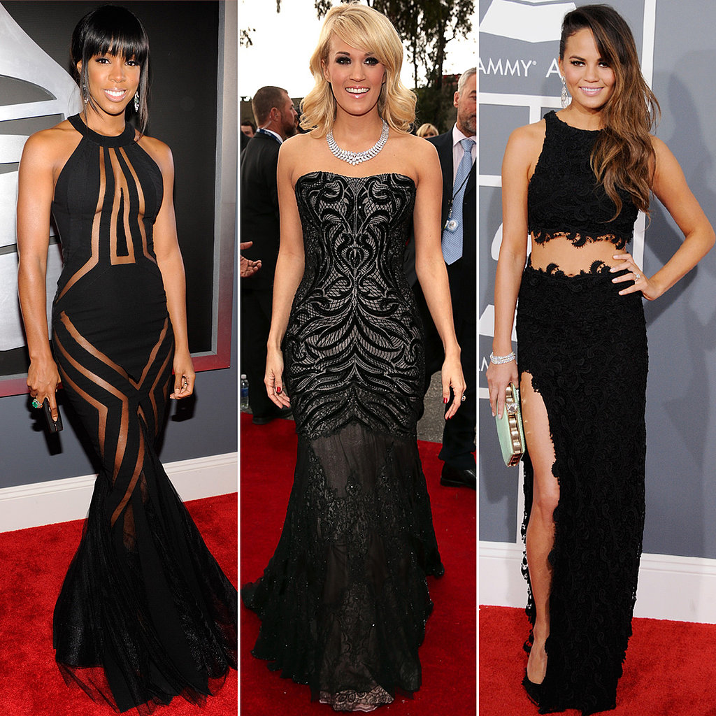 Grammy 2013 red carpet black dresses popsugar fashion - Black and white red carpet dresses ...