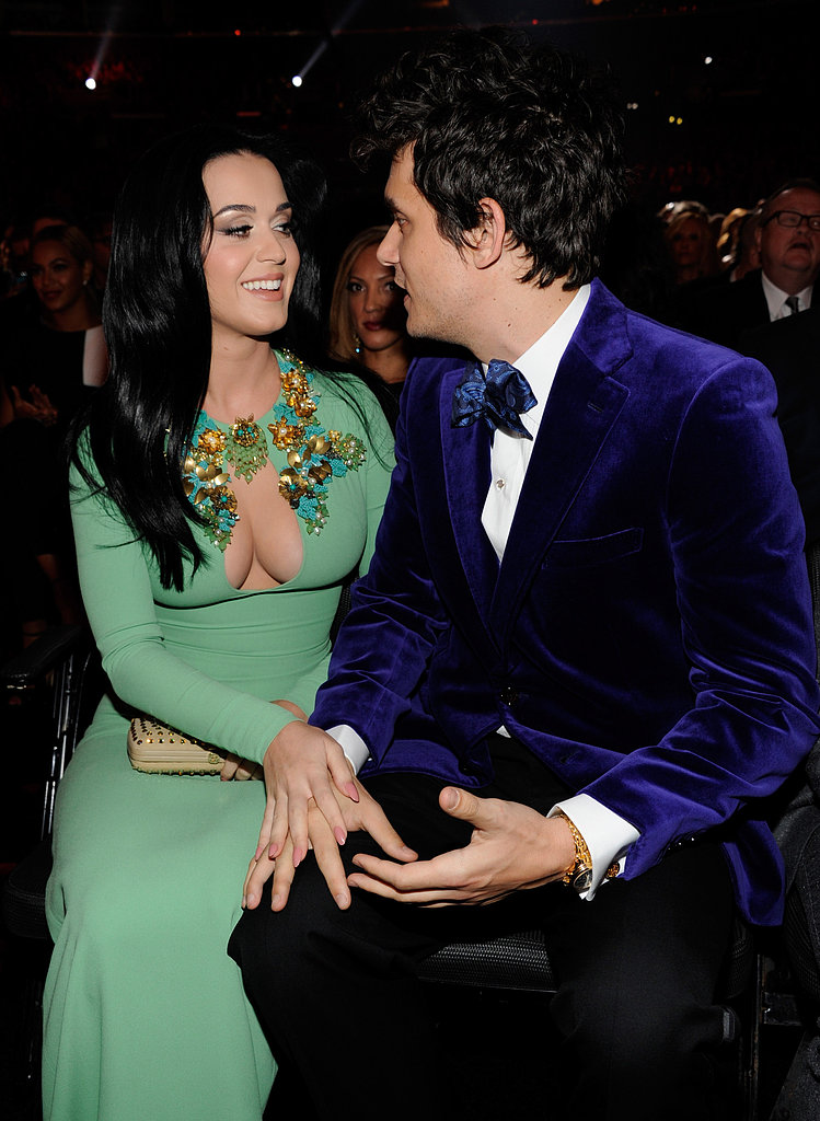 Katy Perry and John Mayer kept close while conversing at the show.