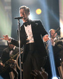 "Justin performed his new single ""Suit & Tie"" at the 2013 Grammys."