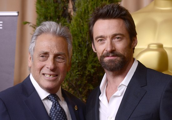 Hugh Jackman posed with Hollywood producer Hawk Koch before heading into the Oscars luncheon Monday.