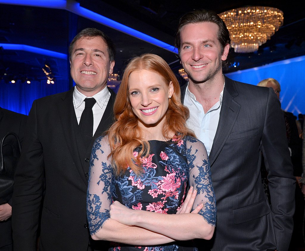 Jessica Chastain was sandwiched between David O. Russell and Bradley Cooper at the Oscars luncheon.