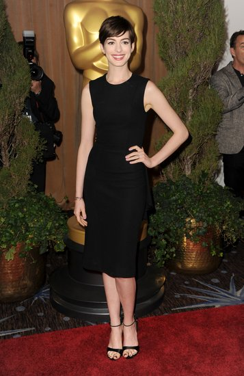 Anne Hathaway looked sleek chic at a special luncheon for Oscars nominees Monday in Beverly Hills.