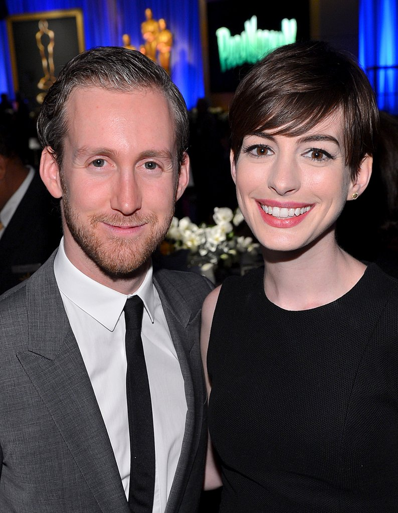 Anne Hathaway attended the Oscars luncheon with her husband Adam Shulman in Beverly Hills.