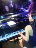 Olivia Munn played the piano while Jamie Foxx sang during a Super Bowl pre-party in NOLA. Source: Twitter user oliviamunn