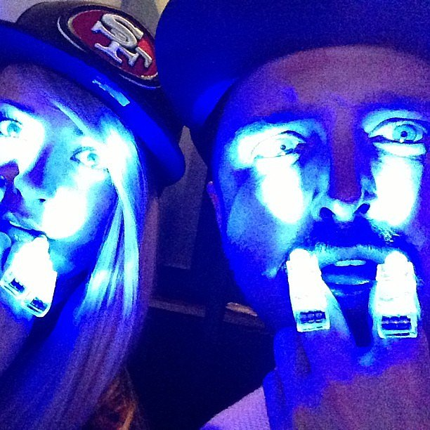 Aaron Paul posed with minilights during the Super Bowl half-time show. Source: Instagram user aglassfullofwhiskey