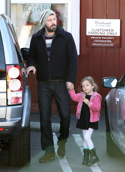 Ben Affleck held hands with Seraphina Affleck.