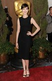 Anne Hathaway kept it classic and ultrasleek in a body-skimming LBD and ankle-strap heels.