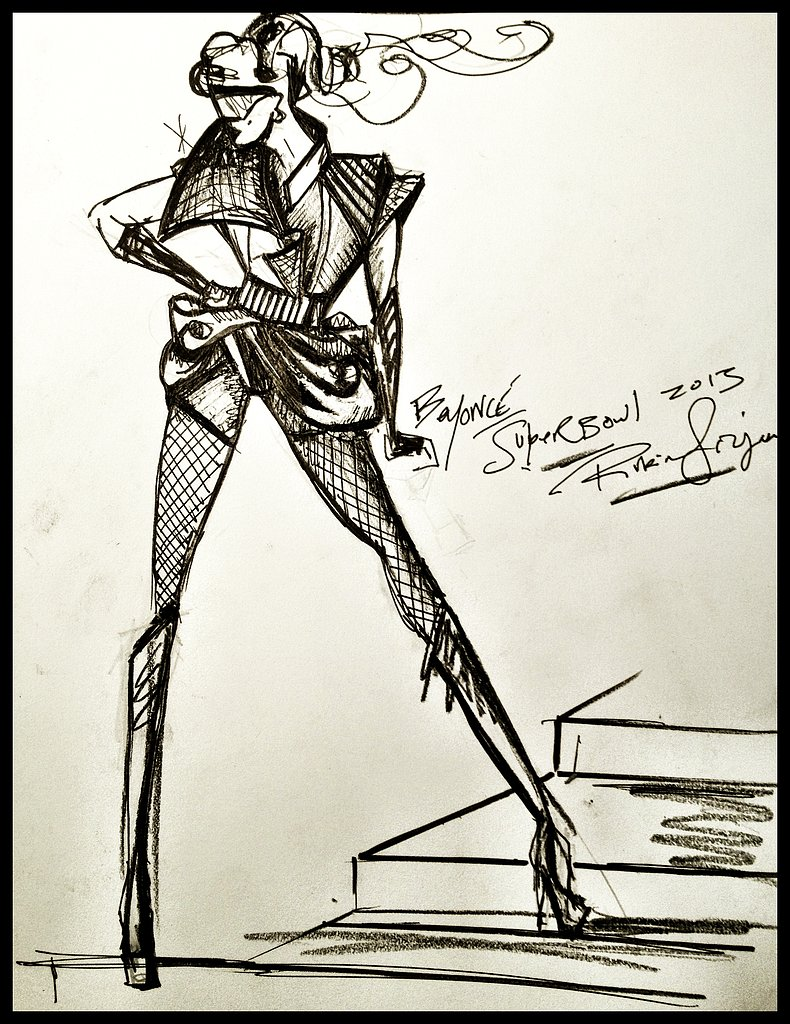 The sketch showcased the costume collaboration between Rubin Singer and Beyoncé, a process that took over two months, more than five fittings, and over 200 man-hours, but the results speak for themselves. Photo courtesy of www.rubinsinger.com