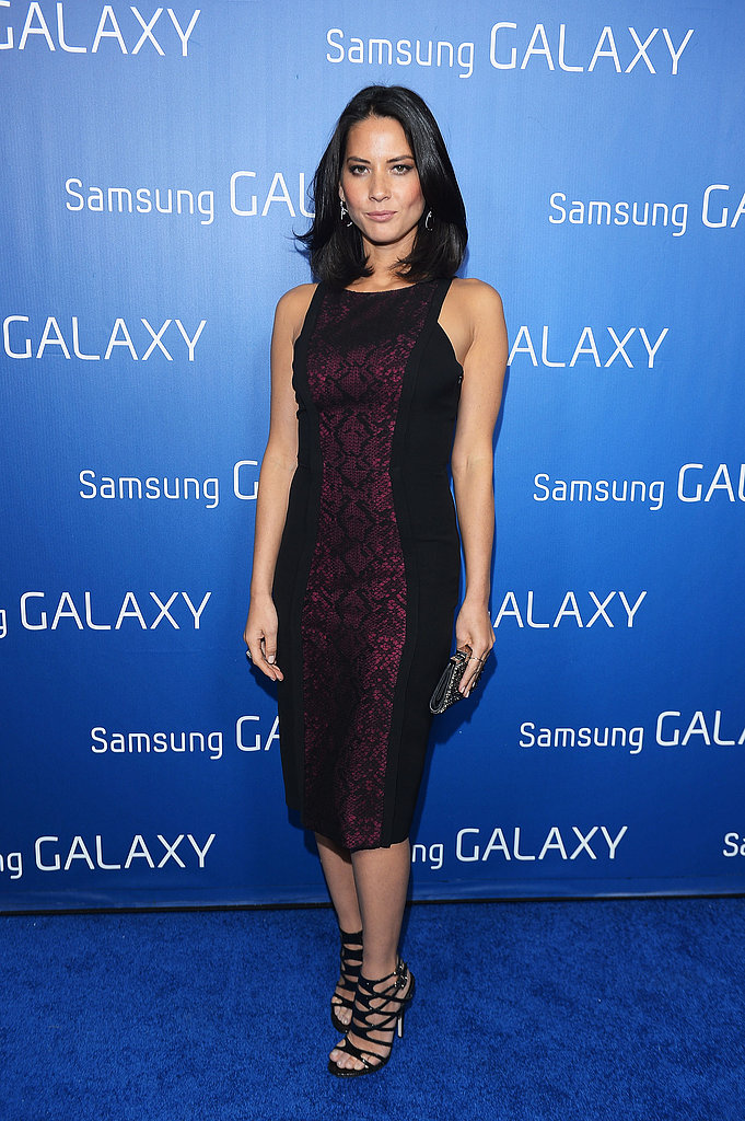 For Samsung Galaxy's Shangri-La party, Olivia styled a two-toned (see fuchsia snakeprint for extra intrigue), formfitting sheath with sexy lattice-silhouette heels and a crystal-encrusted clutch.
