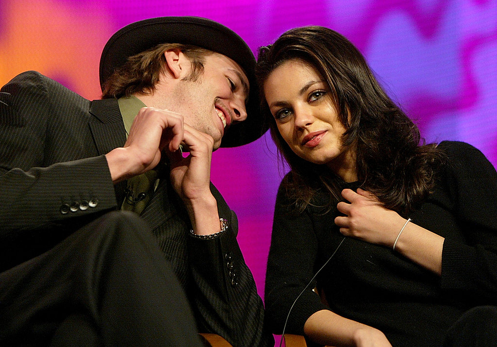 Ashton whispered in Mila's ear during the Fox Television Critics Association press tour in January 2004 in Hollywood. Source: Getty / Kevin Winter