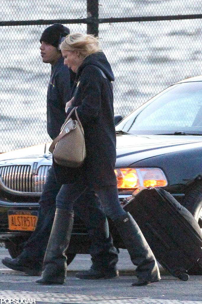 Gwyneth Paltrow wore black boots while out in NYC.
