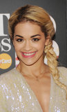At the 2013 Brit Awards, Rita Ora showed off her custom-made Jennifer Fisher Gothic gold letter necklace with a sparkly gown. Create your own gothic letter necklace ($300), too.