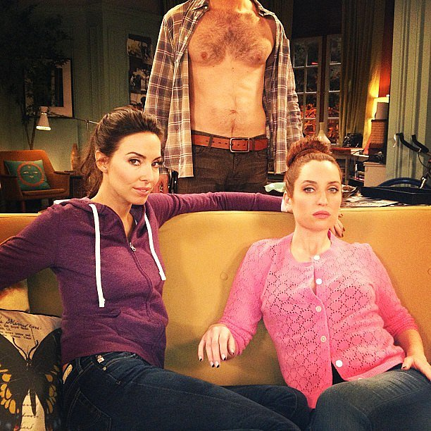 The stars of Whitney ignited some shirtless scandal on the set. Source: Instagram user zoelisterjones