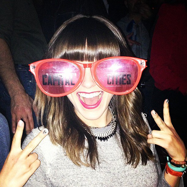Sophia Bush had a blast at the Capital Cities show, and shared a photo of her oversize sunglasses. Source: Twitter user SophiaBush