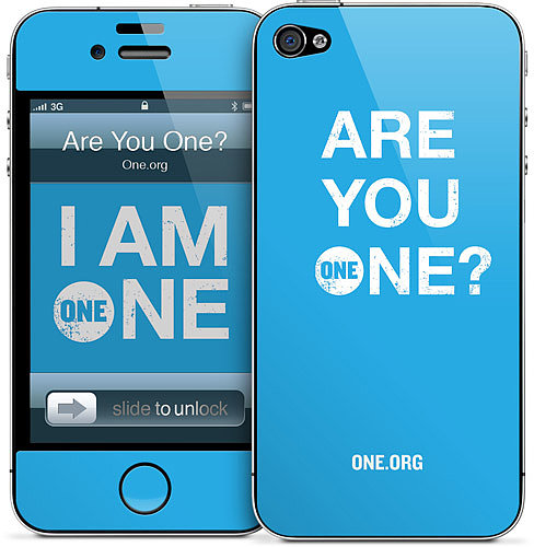 ONE fights poverty and disease in Africa, and when you purchase an iPhone skin designed by the organization ($15), you can help with the cause too.
