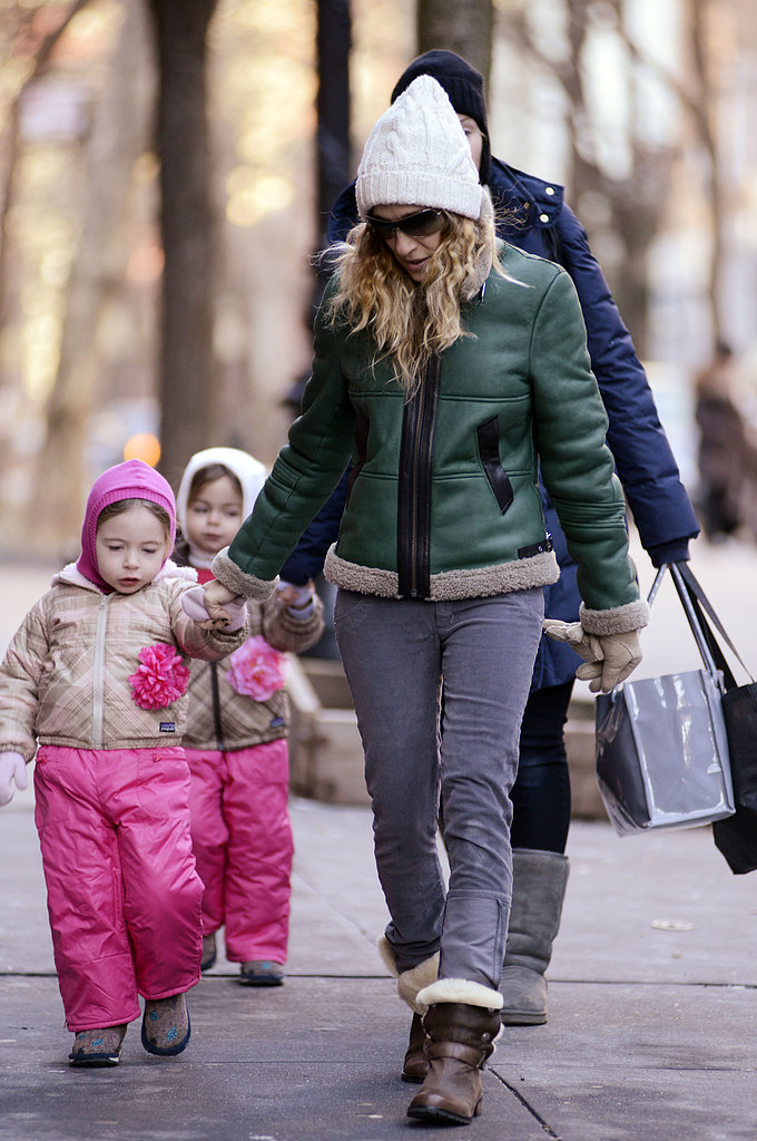 Sarah Jessica Parker managed to look comfy and cool while braving the NYC chill. She matched a white beanie with a Gerard Darel green leather and shearling jacket, gray corduroys, and cozy shearling boots.
