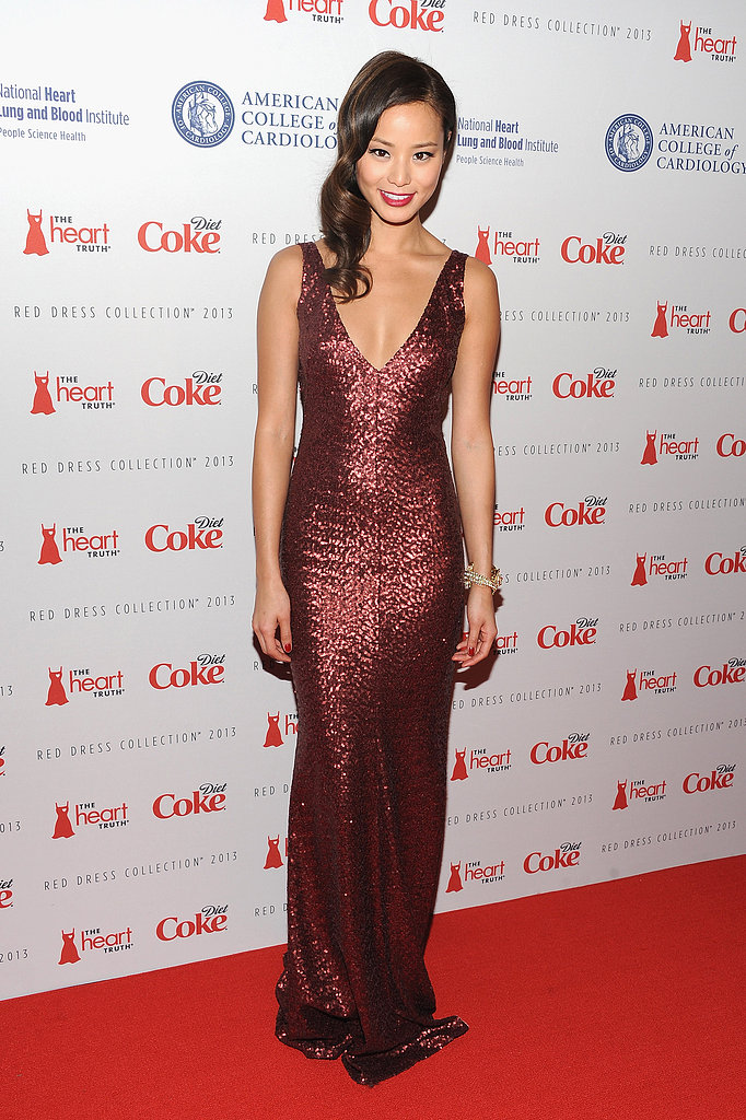 Jamie Chung chose a garnet sequin goddess gown by designer David Meister for The Heart Truth collection.