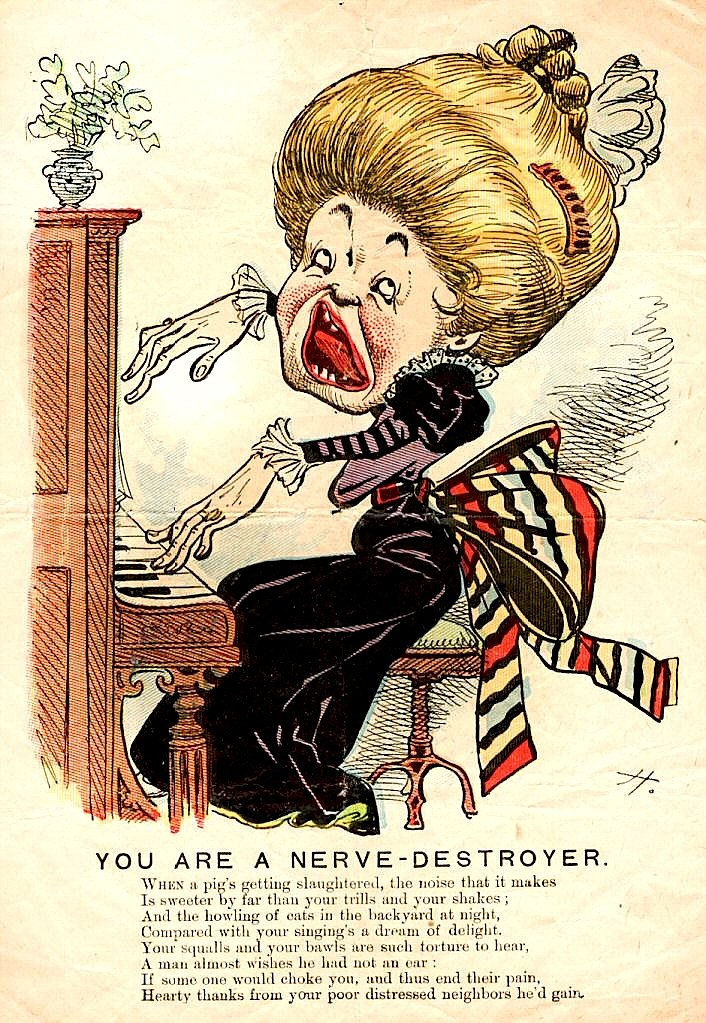 This valentine from the late 19th century targets bad singers.
