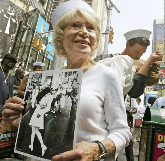 "Alfred Eisenstaedt's infamous ""V-J Day in Times Square"" photograph was taken on V-J Day, or ""Victory Over Japan Day,"" Aug. 14, 1945. Pictured here is Edith Shain, who was widely believed to be the woman in the photograph. She passed away at 91 in 2010."
